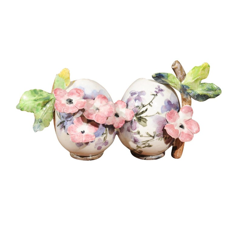Petite Italian Glazed and Hand Painted 19th Century Two-Pots Floral Majolica For Sale