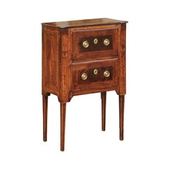 Petite Italian Neoclassical Period Walnut Commode circa 1800 with Inlaid Décor