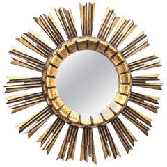 Petite Italian Starburst Sunburst Gilded Wood Mirror, circa 1950s
