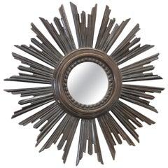 Petite Italian Starburst Sunburst Mirror Gilded Plastic, circa 1970s