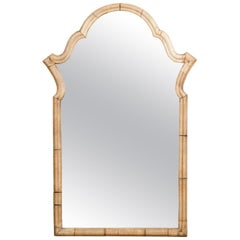 Petite Italian Walnut Mirror circa 1940 with Arched Top and Natural Patina