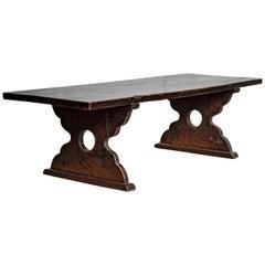 Petite Japanese 19th Century Keyaki Wood Low Prayer Table with Curving Legs
