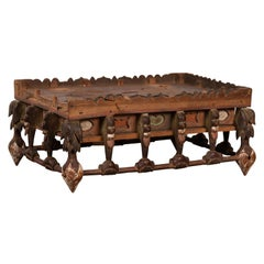 Petite Japanese Edo Period Folk Art Altar Table with Carved and Painted Motifs