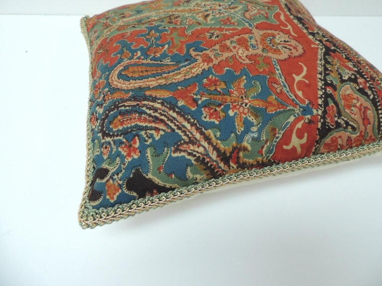 Baroque Revival Petite Kashmir Paisley Indian Silk Red Textile Decorative Pillow For Sale