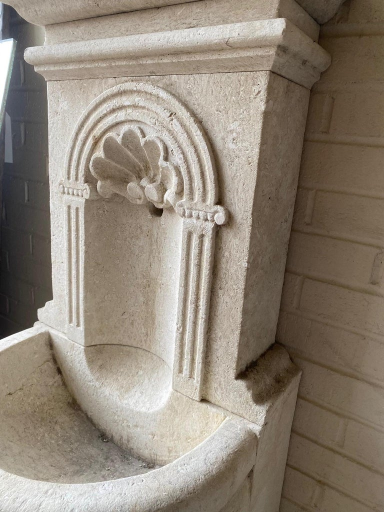 French Petite Limestone Wall Fountain For Sale