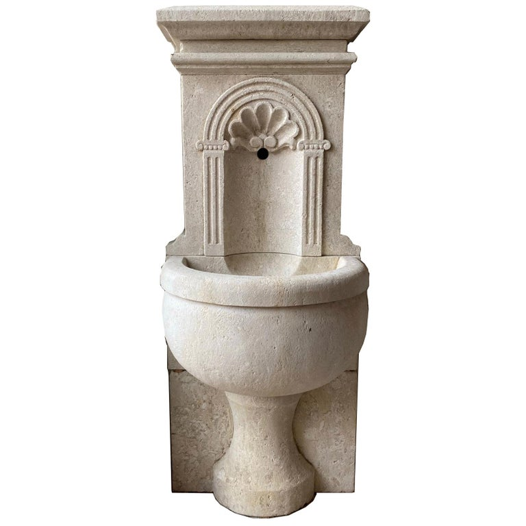 Petite Limestone Wall Fountain For Sale