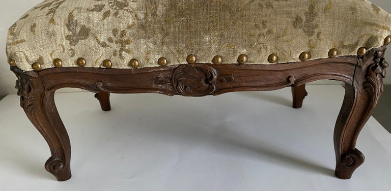 Carved Petite Louis XV Foot Stool For Sale