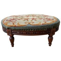 Petite Louis XVI Oval Needlepoint Footstool