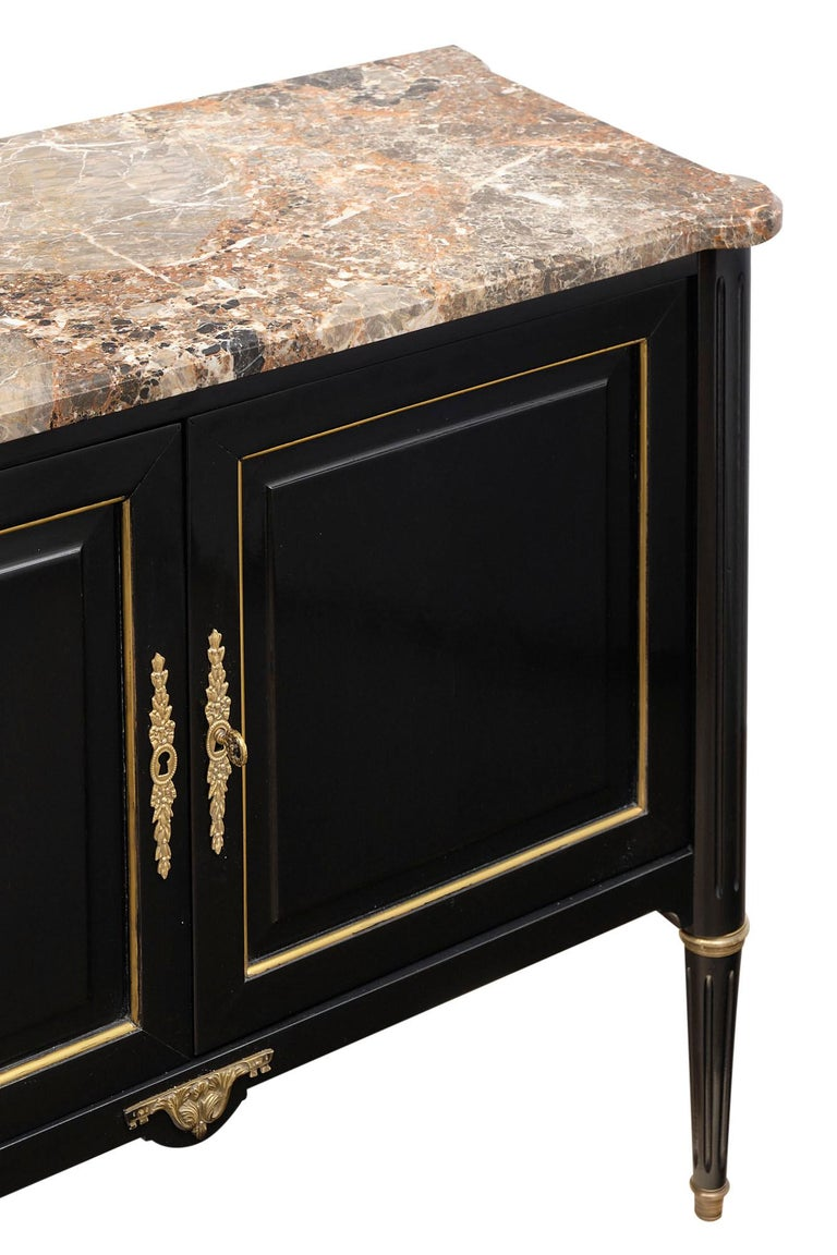 Brass Petite Louis XVI Style French Buffet For Sale