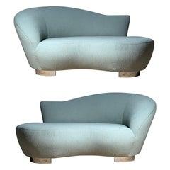 Petite Vladimir Kagan Loveseat Cloud Sofa / Chaise Lounge