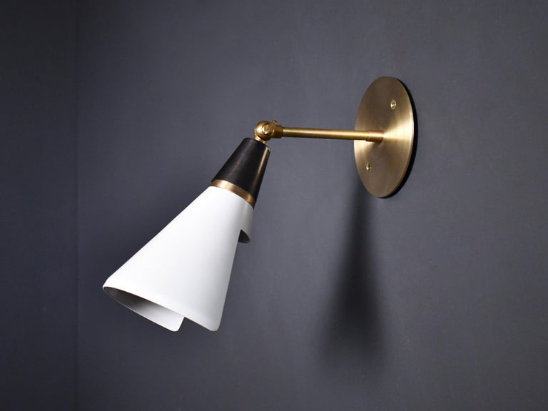 Mid-Century Modern Petite Magari Adjustable Wall Lamp in Black, White & Brass by Blueprint Lighting For Sale