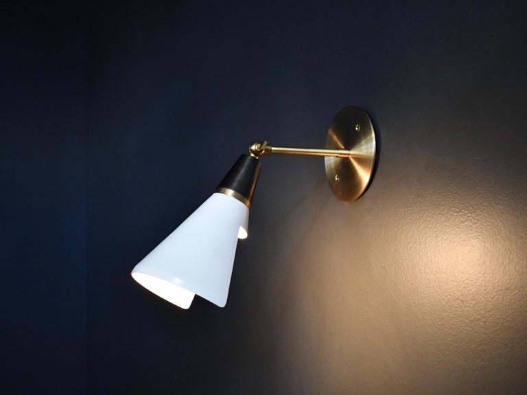 American Petite Magari Adjustable Wall Lamp in Black, White & Brass by Blueprint Lighting For Sale