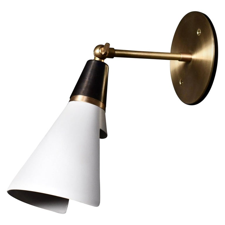 Petite Magari Adjustable Wall Lamp in Black, White & Brass by Blueprint Lighting For Sale
