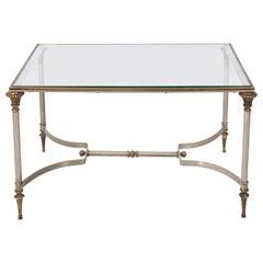 Petite Maison Jansen Style Steel and Brass Coffee Table