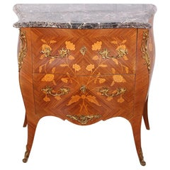 Petite Marble top Marquetry Commode, C.1920's