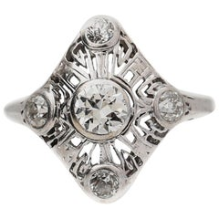 Petite Mason Art Deco European Diamond Ring, circa 1930s