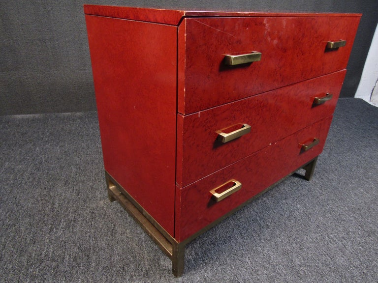 Brass Petite Midcentury Chest of Drawers by Lane Furniture For Sale