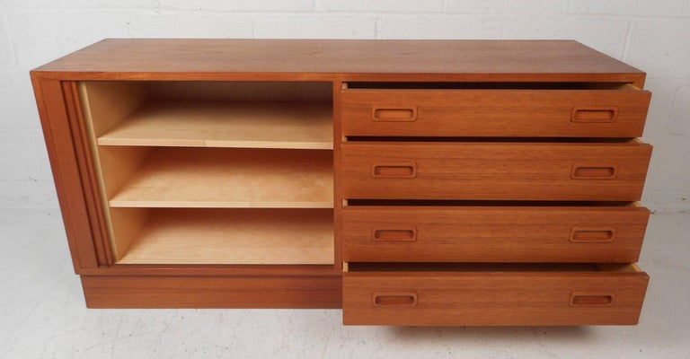 Petite Mid-Century Modern Danish Teak Credenza In Good Condition For Sale In Brooklyn, NY