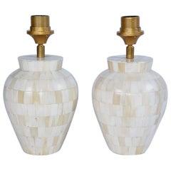 Petite Mid-Century Modern Style Vase Shape Bone Mosaic Lamps