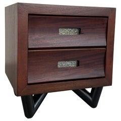 Petite Mid-Century Modern Walnut Dresser Nighstand