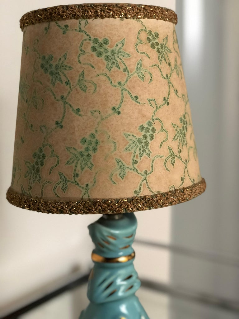Mid-Century Modern Petite Midcentury Turquoise and Gold Table Lamp with Original Floral Shade For Sale