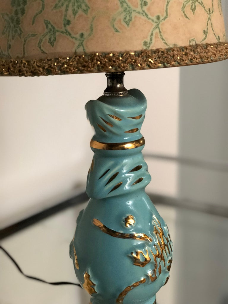 American Petite Midcentury Turquoise and Gold Table Lamp with Original Floral Shade For Sale