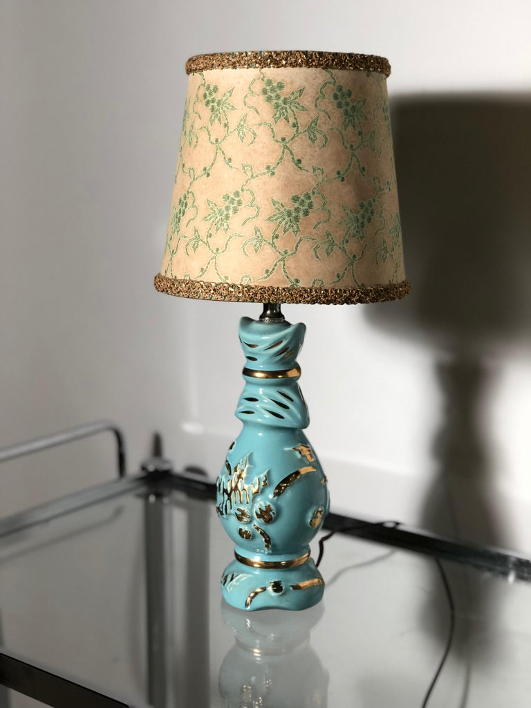 20th Century Petite Midcentury Turquoise and Gold Table Lamp with Original Floral Shade For Sale