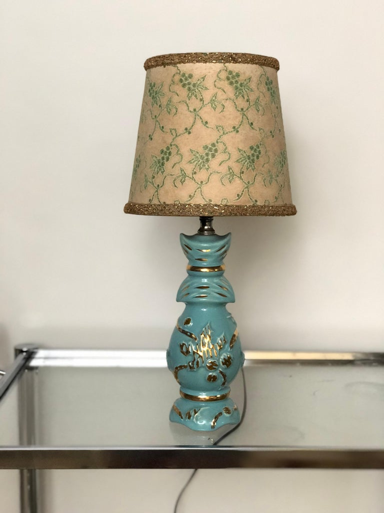 Ceramic Petite Midcentury Turquoise and Gold Table Lamp with Original Floral Shade For Sale