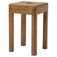 Petite Midcentury French Oak Stool or Small Side Table