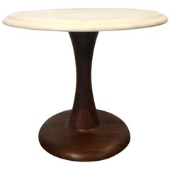 Petite Midcentury Round Carrara Marble Top Side Table Style of Nanna Ditzel