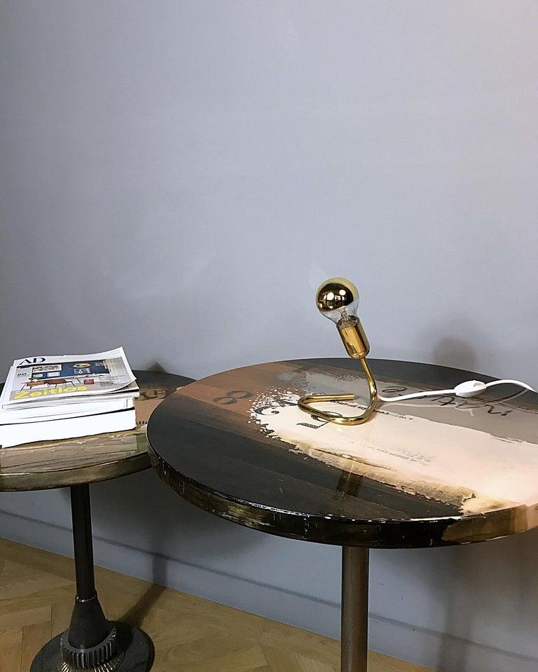 Austrian Petite Midcentury Rupert Nikoll Brass Nightstand Table Lamp, 1950s, Austria For Sale