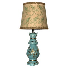 Petite Midcentury Turquoise and Gold Table Lamp with Original Floral Shade