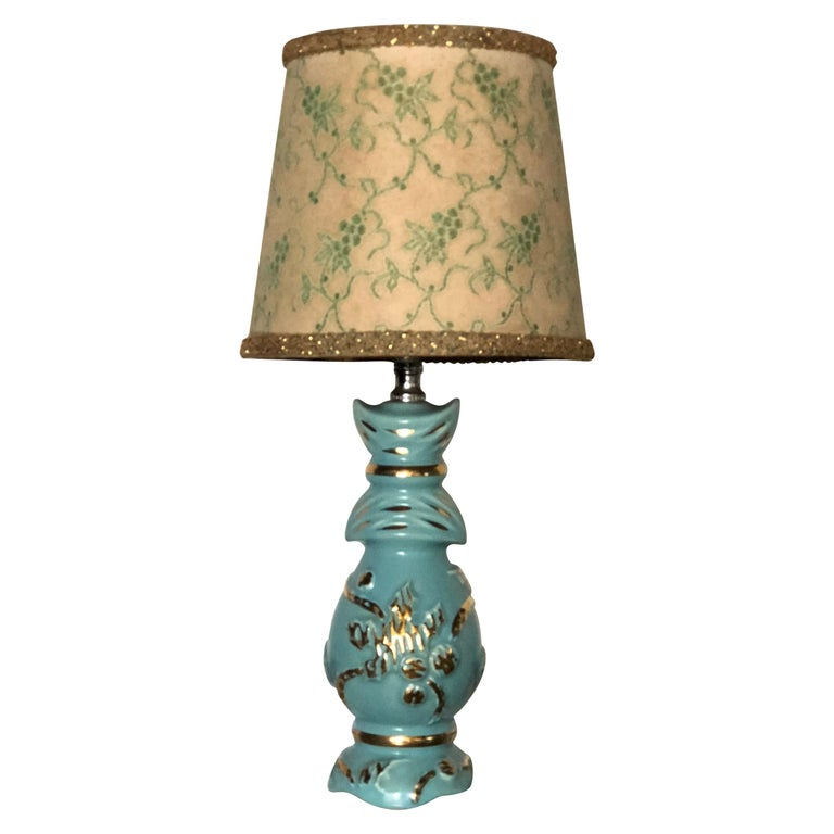 Petite Midcentury Turquoise and Gold Table Lamp with Original Floral Shade For Sale