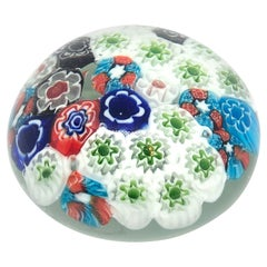 Petite Millefiori Flowers Murano Italian Art Glass Paperweight 1960s