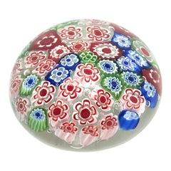 Petite Millefiori Flowers Murano Italian Art Glass Paperweight, 1960s