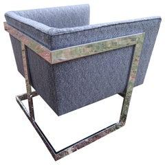 Petite Milo Baughman Chrome Cube Lounge Chair, Mid-Century Modern