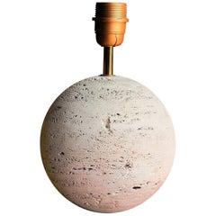 Petite Minimalist Raw Travertine Table Lamp, France, 1970s