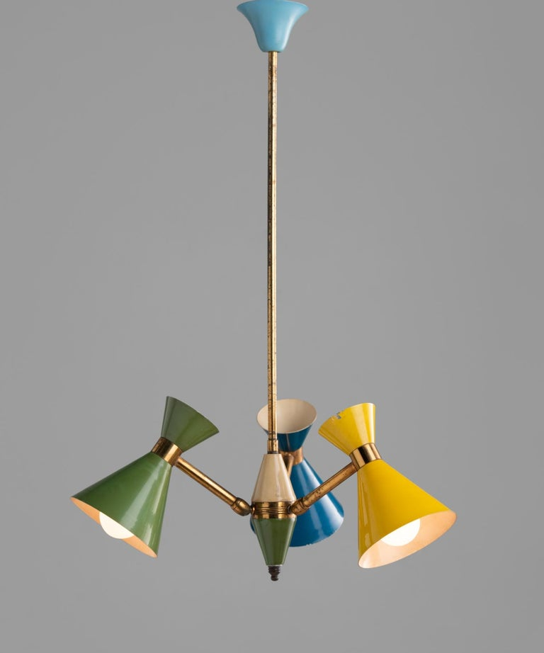 Petite multi-color chandelier, Italy, circa 1960.