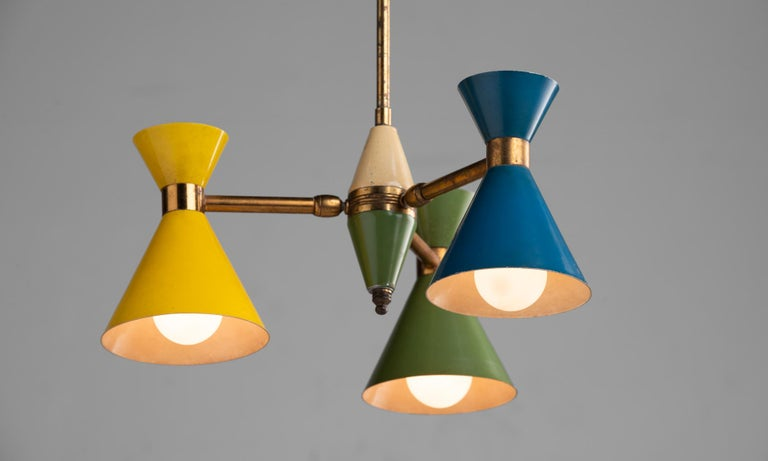 Mid-Century Modern Petite Multi-Color Chandelier, Italy, circa 1960 For Sale