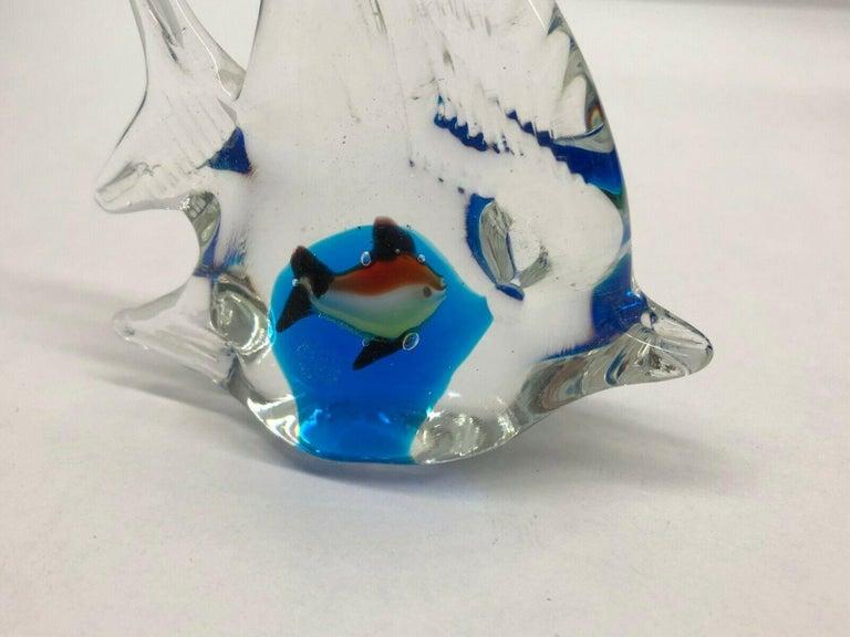 Italian Petite Murano Glass Aquarium Paper Weight Mid-Century Modern, Italy, 1970s For Sale