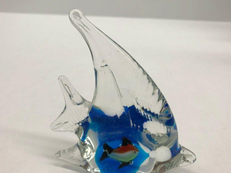 Hand-Crafted Petite Murano Glass Aquarium Paper Weight Mid-Century Modern, Italy, 1970s For Sale