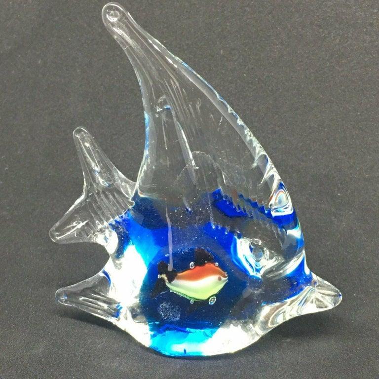 Late 20th Century Petite Murano Glass Aquarium Paper Weight Mid-Century Modern, Italy, 1970s For Sale