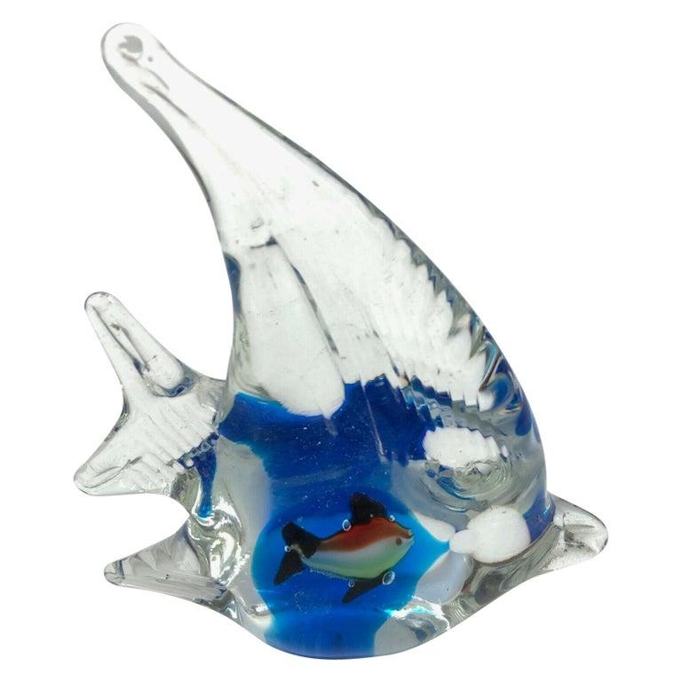 Petite Murano Glass Aquarium Paper Weight Mid-Century Modern, Italy, 1970s For Sale