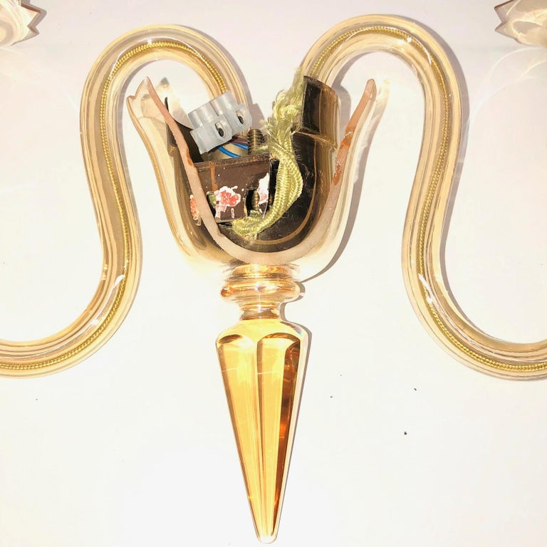 Petite Murano Glass Sconce Wall Lamp Vintage, Italy, 1960s For Sale 3