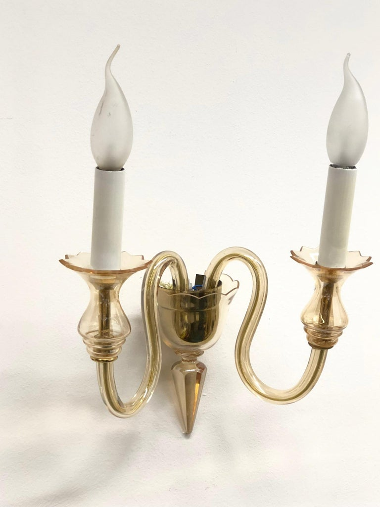 Italian Petite Murano Glass Sconce Wall Lamp Vintage, Italy, 1960s For Sale