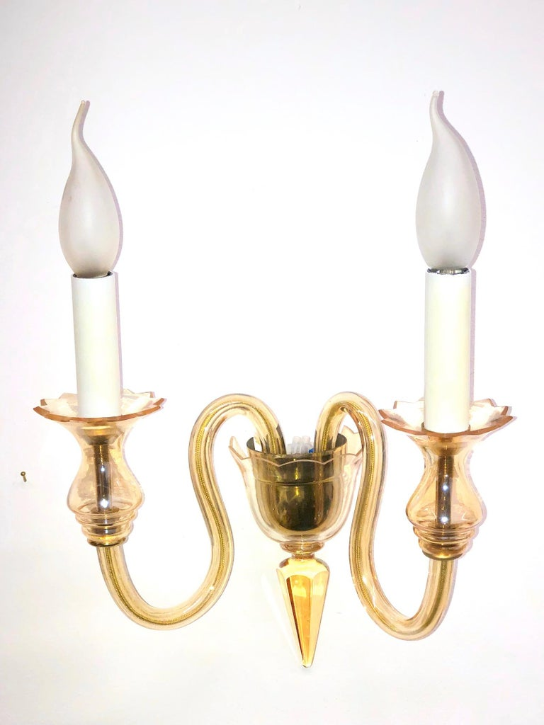Mid-20th Century Petite Murano Glass Sconce Wall Lamp Vintage, Italy, 1960s For Sale