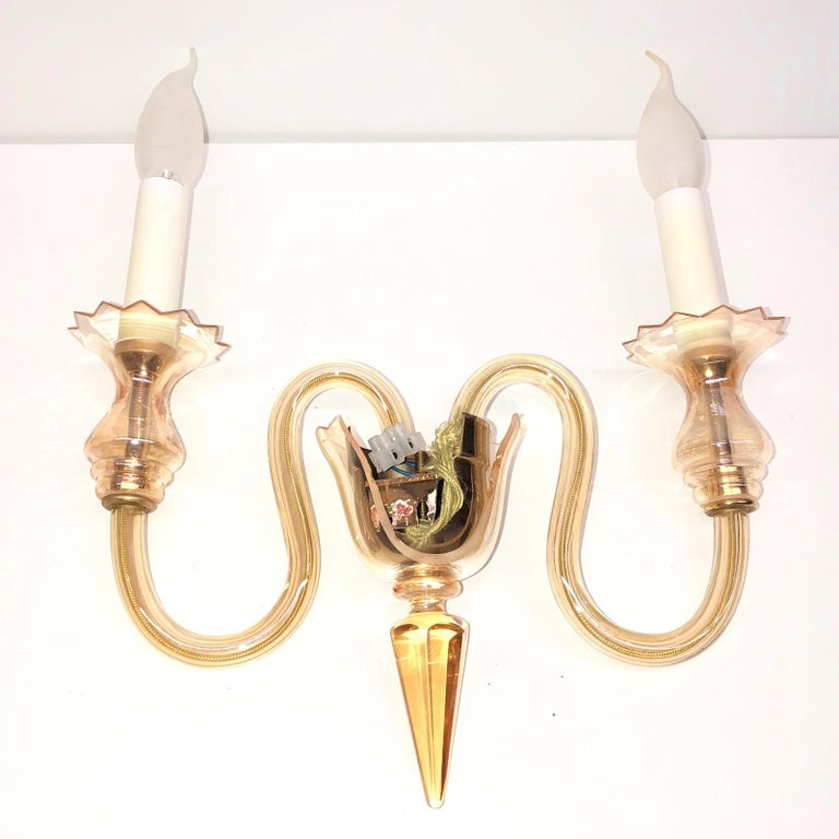 Petite Murano Glass Sconce Wall Lamp Vintage, Italy, 1960s For Sale 2