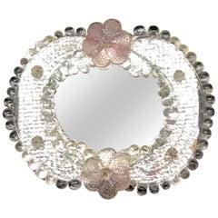 Petite Murano Glass Vanity Wall Mirror, circa 1960s, Italy Venetian Venice