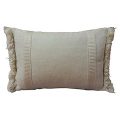 Petite Natural Linen Bolster Decorative Pillow with Trim