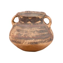 Petite Neolithic Terracotta Pot with Brown Geometric Décor and Flaring Neck